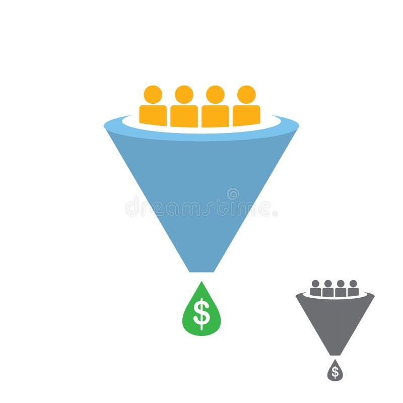 Het vector Vlakke die pictogram van de verkooptrechter op wit wordt geïsoleerd royalty-vrije illustratie