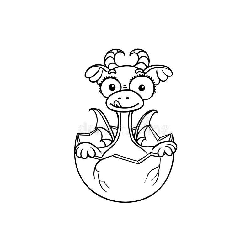 Het vector vlakke draakbaby uitbroeden van eikleuring vector illustratie