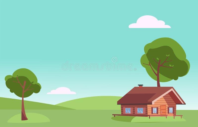 Het vector vlakke eerlijke landschap van de weerzomer met het kleine blokhuis van het land en groene bomen op de groene grasheuve stock illustratie
