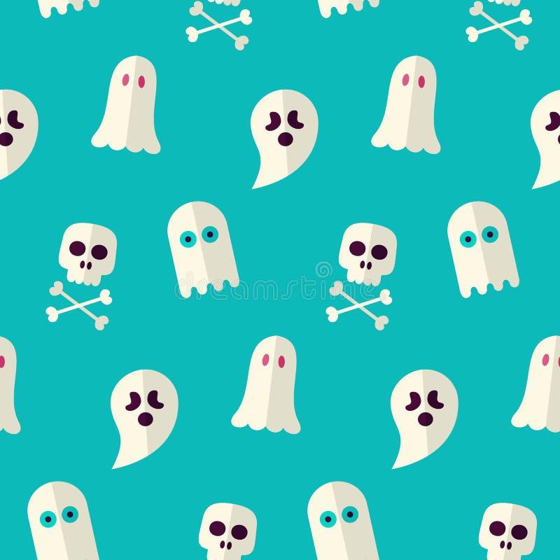 Het vector Vlakke Naadloze Enge Spook en Geestpatroon van Halloween vector illustratie