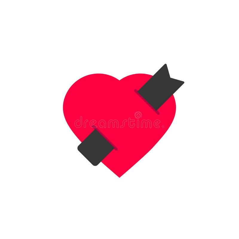 Het vector, vlakke ontwerp van de boekliefde logotype van hart met malplaatje van het referentie het creatieve symbool, het teken royalty-vrije illustratie