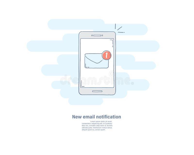 Het vector vlakke pictogram van de illustratiehand getrokken lijn van nieuw e-mailbericht op slimme telefoon Smartphone-het scher stock illustratie