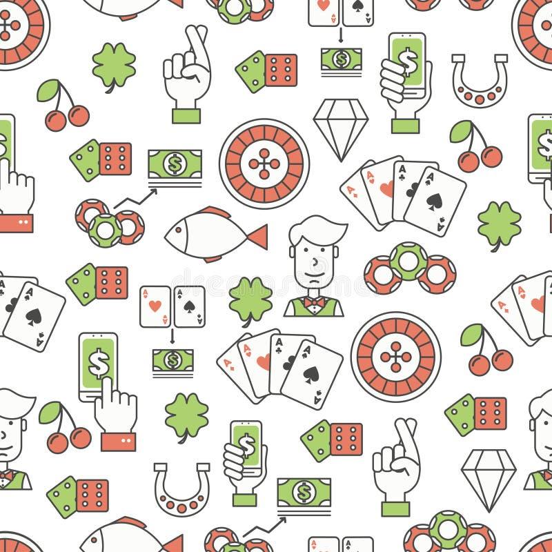 Het vector vlakke van het de pookkaartspel van de lijnkunst naadloze patroon royalty-vrije illustratie
