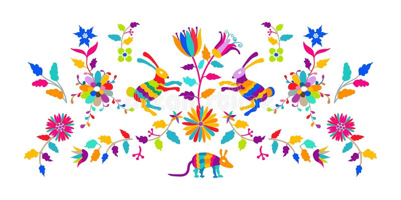 Het vector volks Mexicaanse Otomi-Patroon van het Stijlborduurwerk vector illustratie