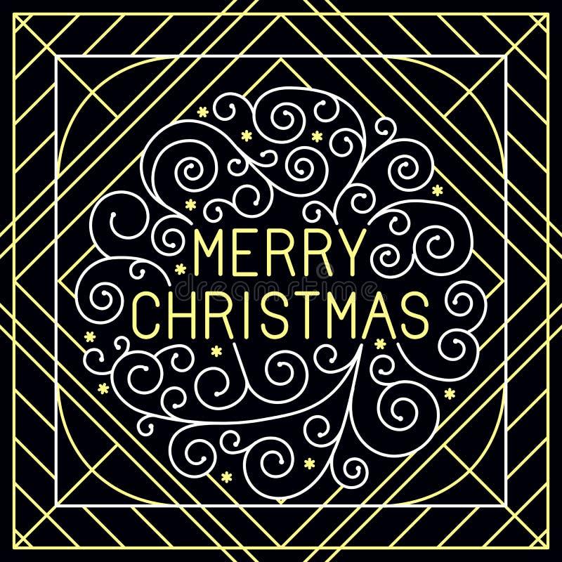 Het vector vrolijke Kerstmishand van letters voorzien royalty-vrije illustratie