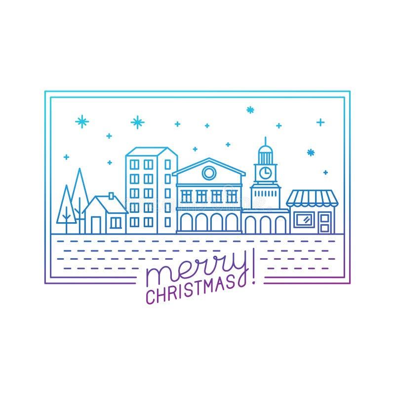 Het vector vrolijke Kerstmishand van letters voorzien in overzichtsstijl stock illustratie