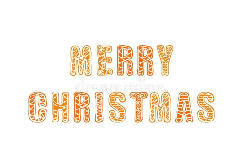 Het vector Vrolijke Kerstmispeperkoek Hand Getrokken Van letters voorzien, Greating-Geïsoleerde Kaart, royalty-vrije illustratie