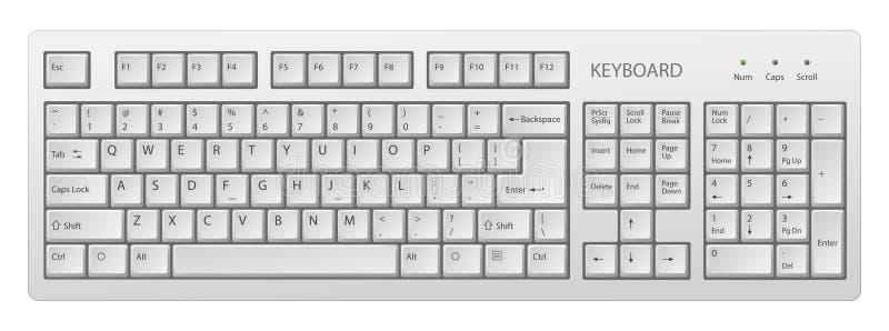 Het vector witte PC-toetsenbord, toetsenbord is zeer nuttig hulpmiddel voor personal computer, is het noodzakelijk om woorden te  stock illustratie