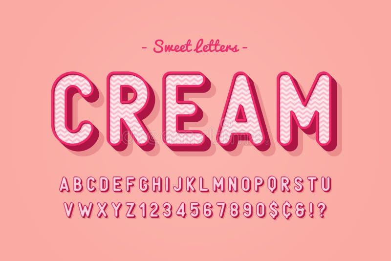 Het vector zoete ontwerp van de suikergoeddoopvont, alfabet, lettersoort, brieven en vector illustratie