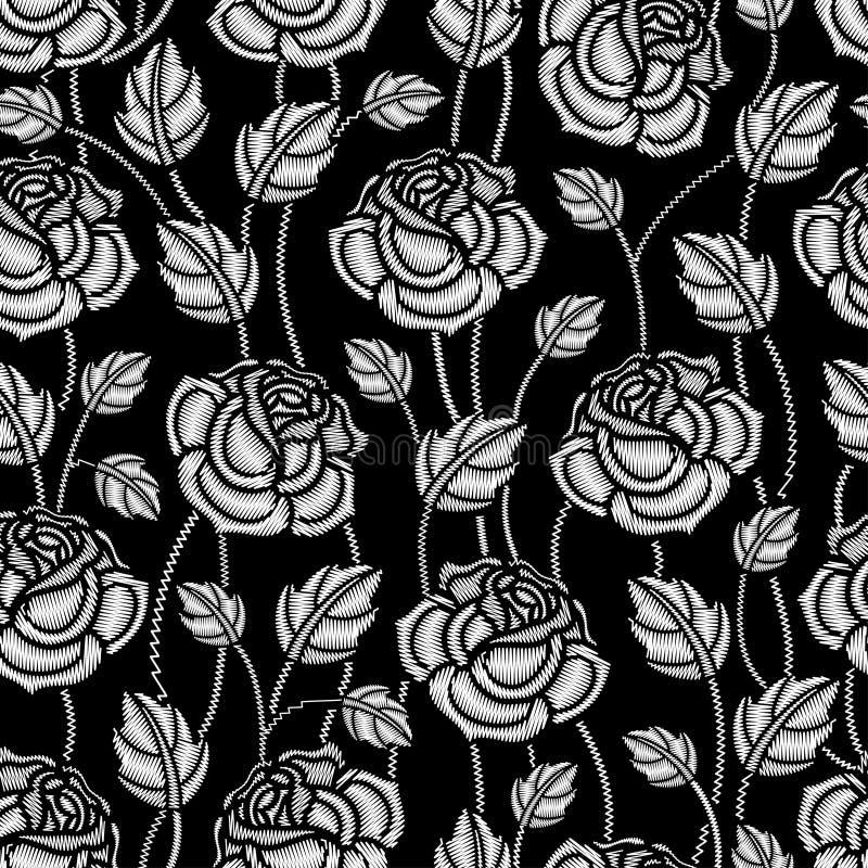 Het vector zwart-wit naadloze patroon met borduurwerk nam bloem en bladeren in wit op de zwarte achtergrond toe stock illustratie