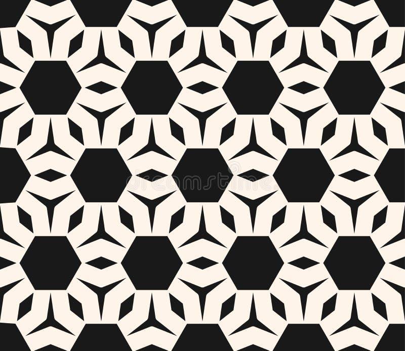 Het vector zwart-wit naadloze patroon, vat geometrisch ornament samen royalty-vrije illustratie