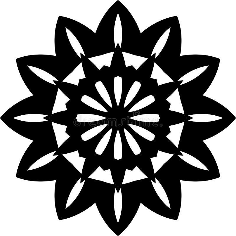 Het vector zwart-witte ontwerp of het patroon van Zonnebloem geometrische mandala vector illustratie