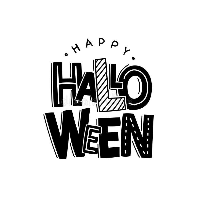 Het vector zwarte grappige die van letters voorzien voor Halloween op witte achtergrond wordt geïsoleerd Gelukkig Halloween stock illustratie
