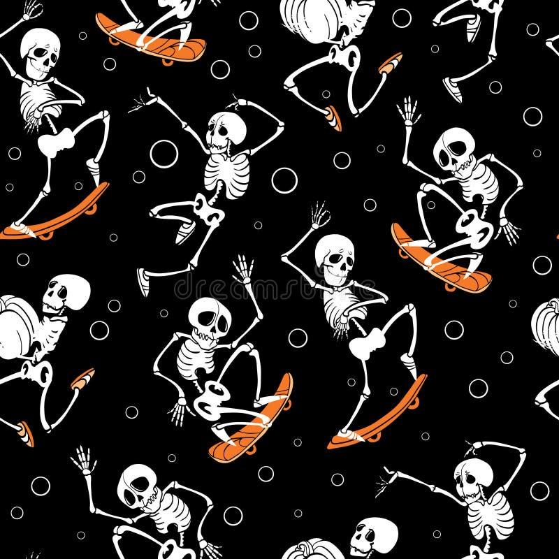 Het vector zwarte met een skateboard rijden, het springen skeletten Haloween herhaalt patroonachtergrond Groot voor griezelige al royalty-vrije illustratie