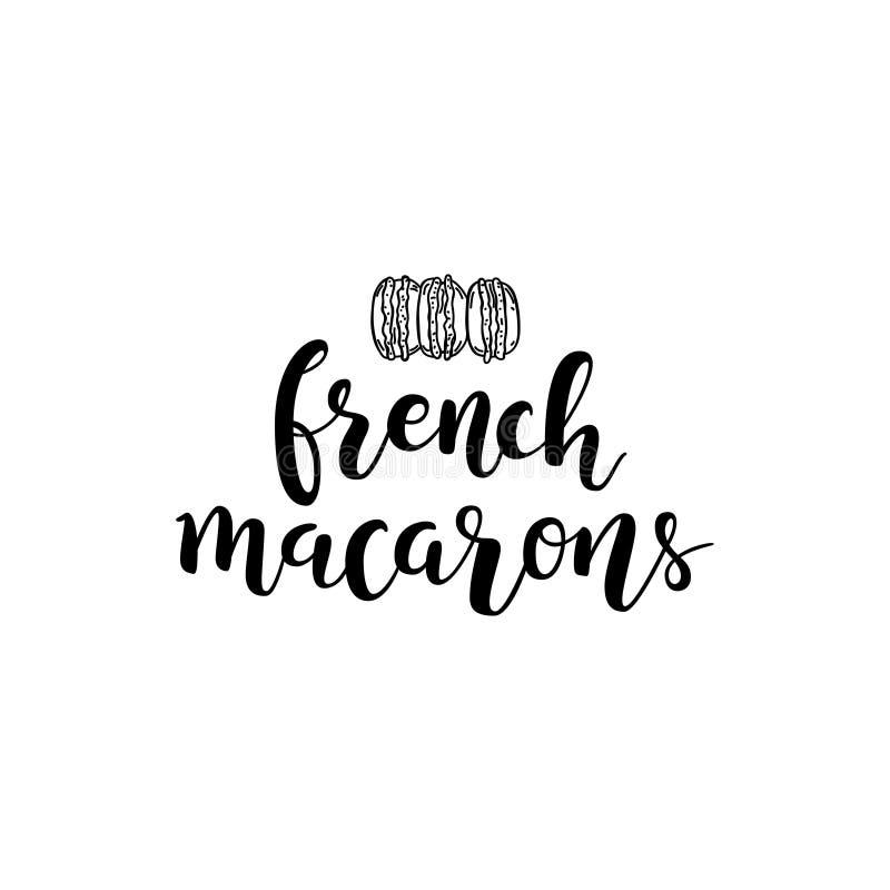 Het vector zwarte van letters voorzien geïsoleerd op witte achtergrond Franse macarons stock illustratie