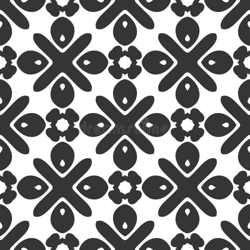 Het vector zwarte wit herhaalt ontwerpen stock illustratie