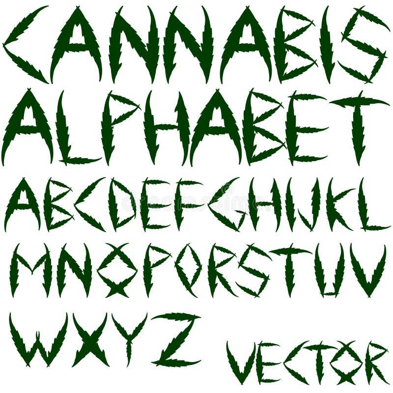 Het vectoralfabet van de cannabis royalty-vrije illustratie
