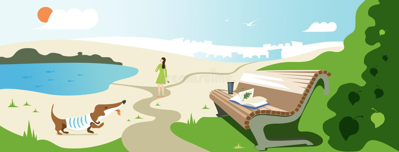 Het vectorbannerontwerp over de zomer ontspant Illustratie van een meisje die met een hond, een bank met een boek en een glas in  stock illustratie