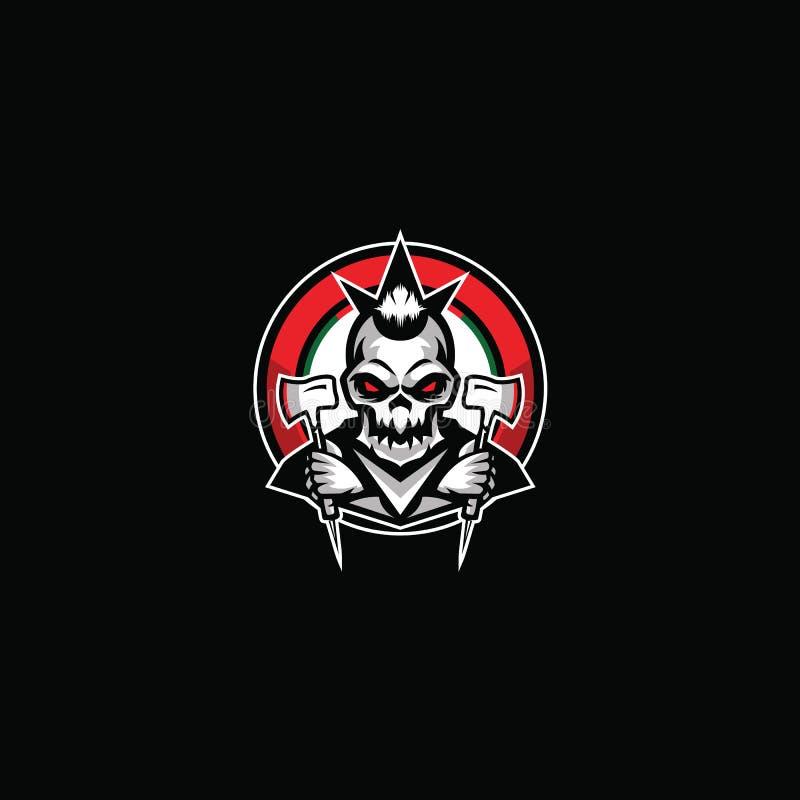 Het Vectorbeeld Logo Cartoon van de schedelbijl & Gekke stijl royalty-vrije illustratie