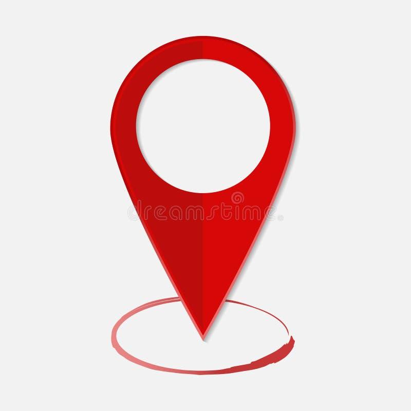 Het vectorbeeld plaatsen op de kaart Het pictogram van tekengps Rood pictogram lo vector illustratie
