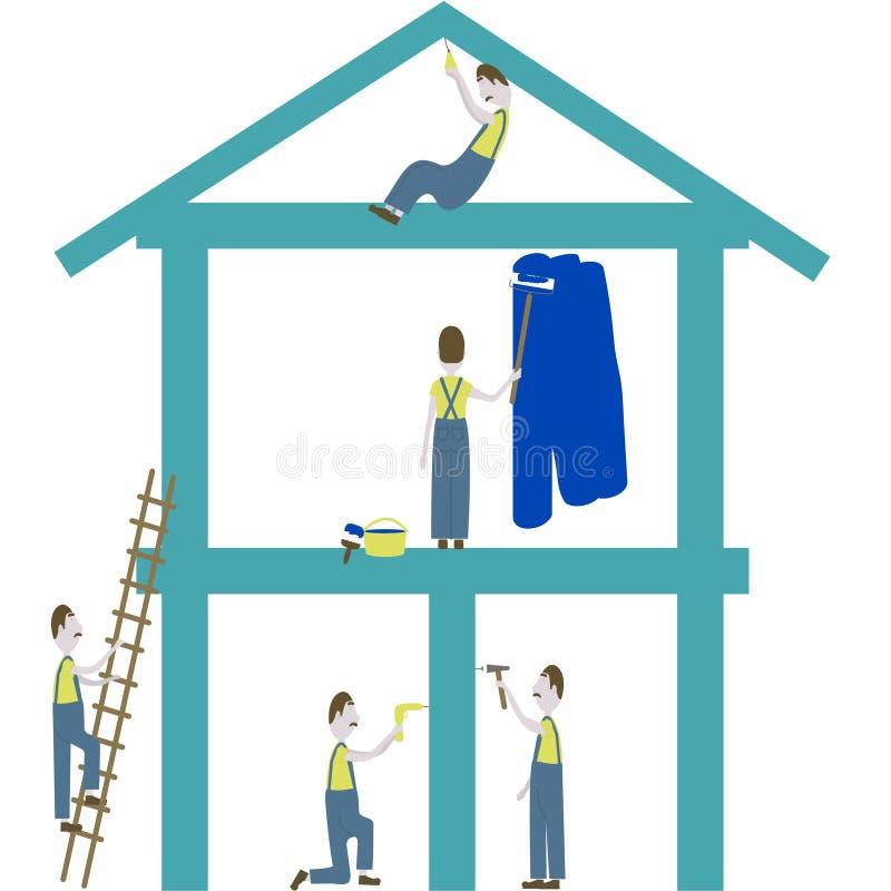 Het vectorbeeld toont hoe een mens reparaties maakt en een huis bouwt stock illustratie