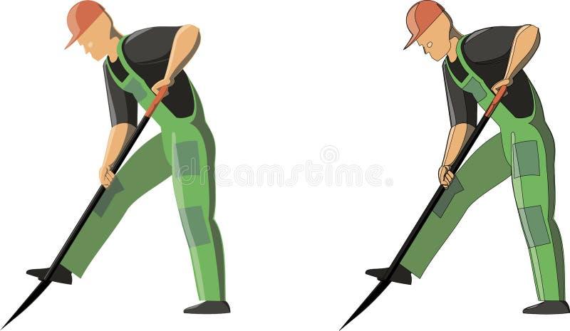 Het vectorbeeld van een mens graaft grond door schop in 2 opties met overzichten en zonder overzicht vector illustratie