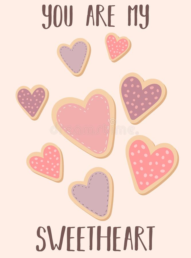 Het vectorbeeld van koekjes in de vorm van harten en de inschrijving u zijn mijn liefje Illustratie voor de Dag van Valentine, mi vector illustratie