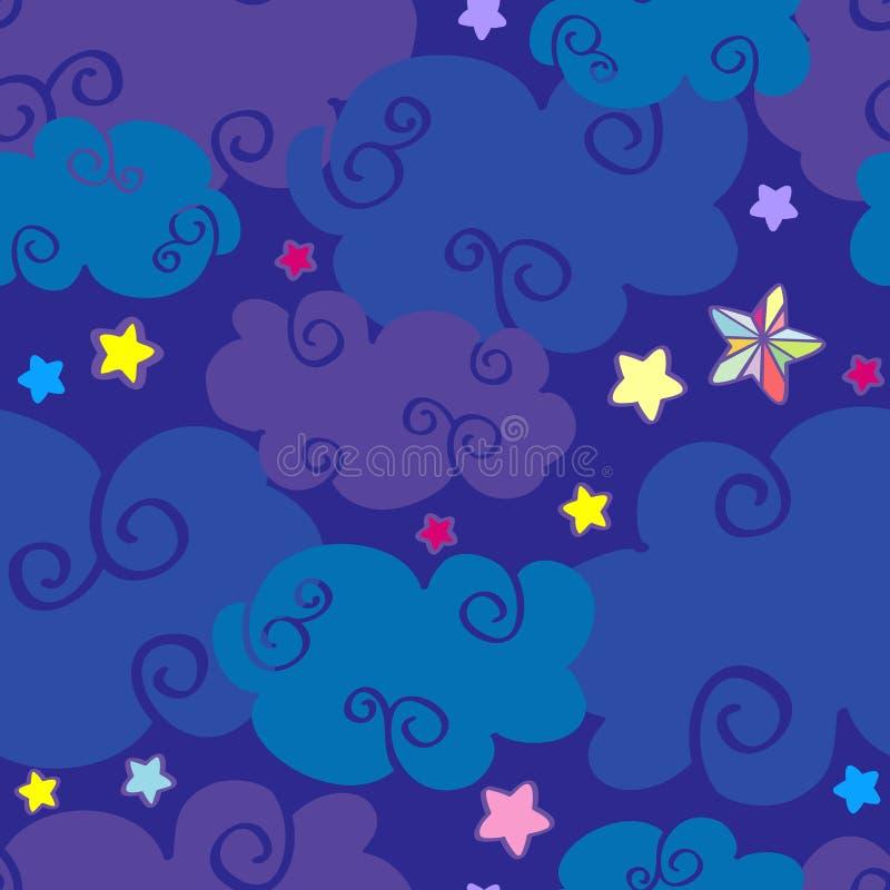 Het vectorbeeldverhaal betrekt en speelt nacht naadloos patroon mee vector illustratie