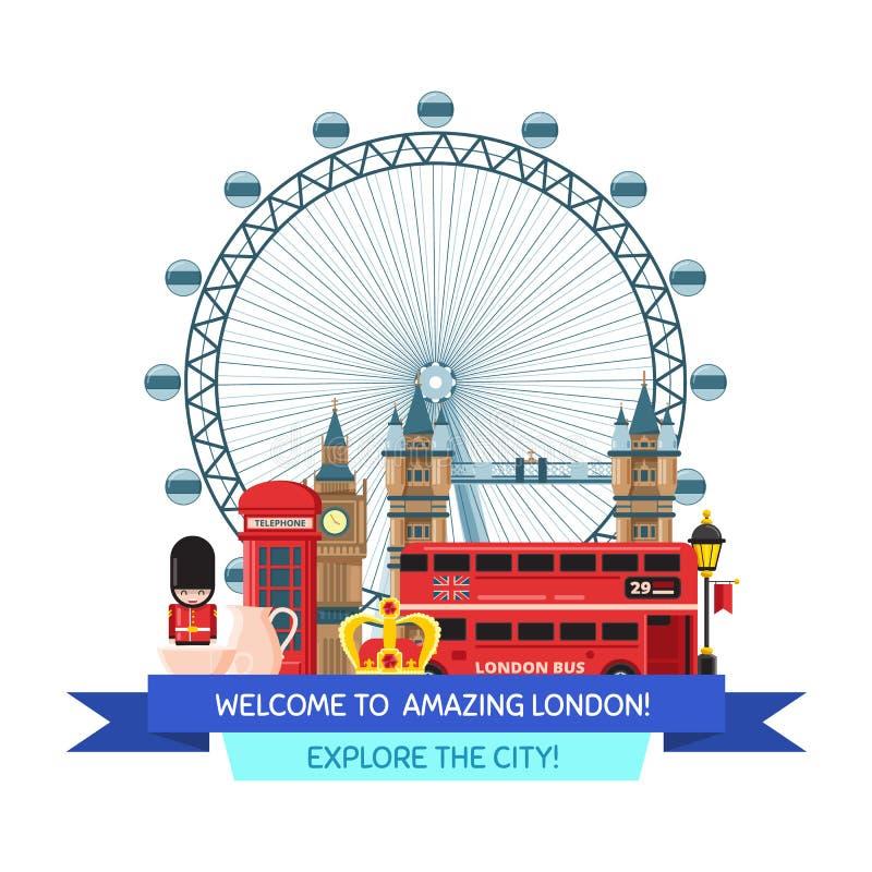Het vectorbeeldverhaal Londen neemt waar en heeft illustratie bezwaar royalty-vrije illustratie
