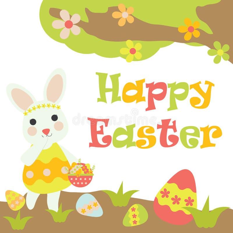Het vectorbeeldverhaal van leuk konijntje brengt een mand van kleurrijk ei stock illustratie