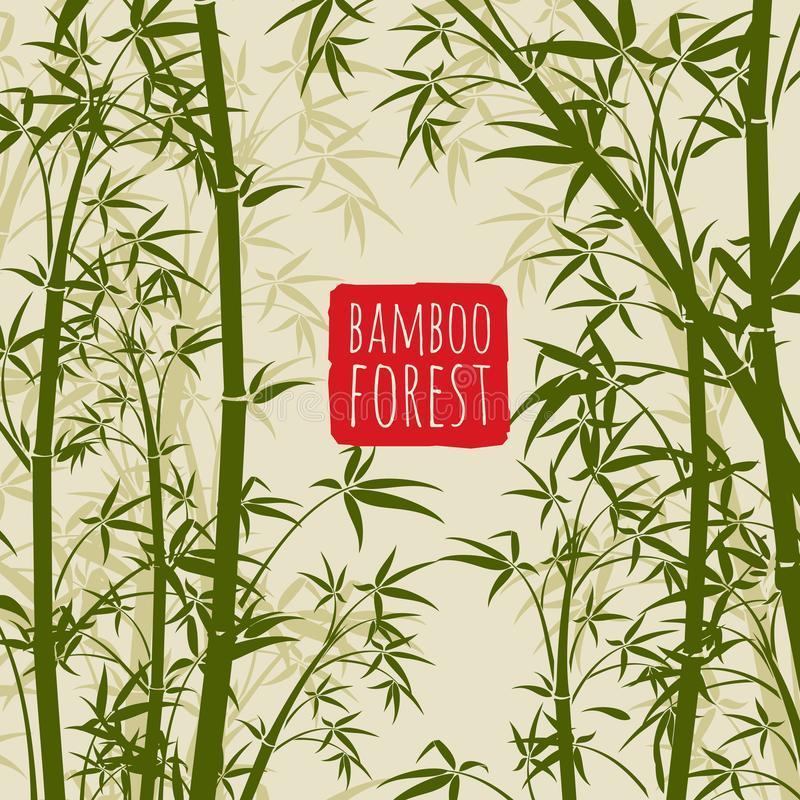 Het vectorbehang van het bamboeregenwoud in Japanse en Chinese kunststijl stock illustratie