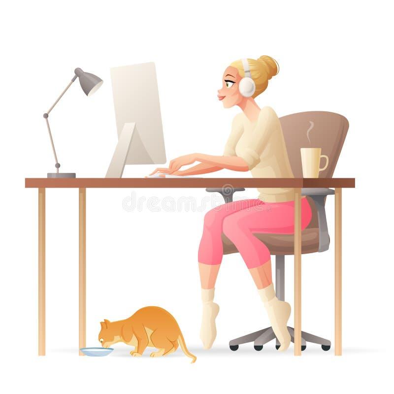 Het vectorbureau van het freelance vrouwen werkende huis met bureaucomputer stock illustratie