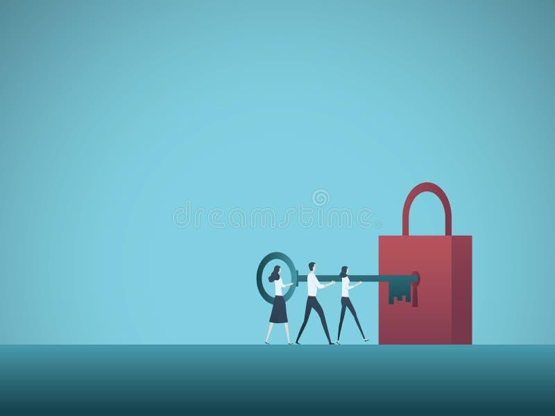 Het vectorconcept van het bedrijfsoplossingsgroepswerk De commerciële teamcollega's openen hangslot met sleutel Symbool van samen royalty-vrije illustratie
