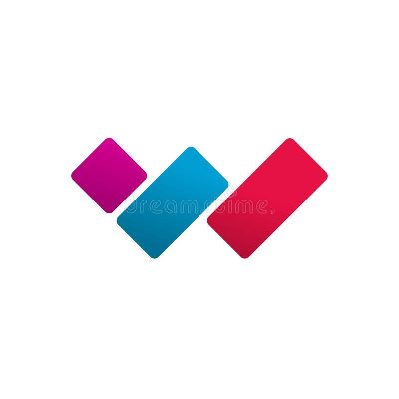 Het vectorconcept van het brievenw embleem, het rode blauwe violette die symbool van de kleurengradiënt logotype op wit, idee wor vector illustratie