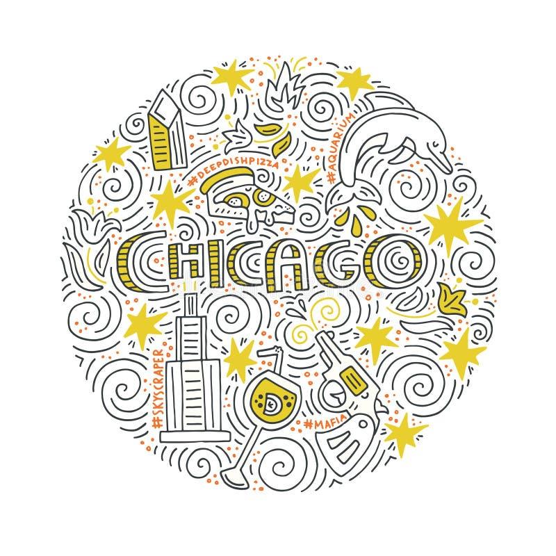 Het Vectorconcept van Chicago stock illustratie