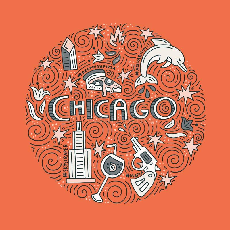 Het Vectorconcept van Chicago royalty-vrije illustratie