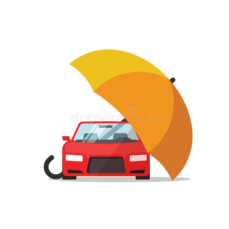 Het vectorconcept van de autoverzekering, autobescherming, de automobiele illustratie van de parapludekking royalty-vrije illustratie