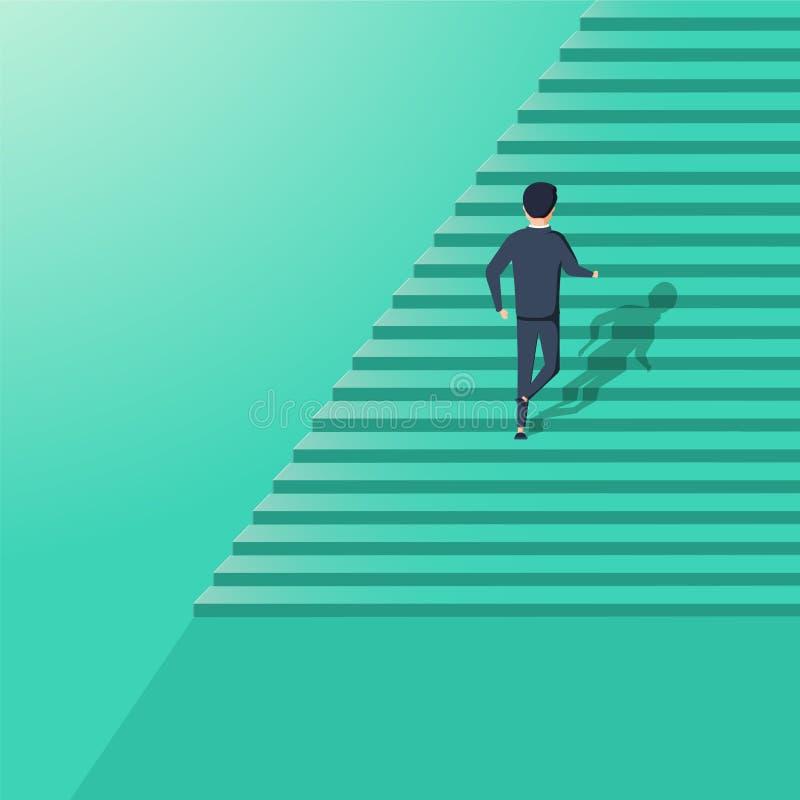 Het vectorconcept van de bedrijfscarrièreontwikkeling Symbool van het collectieve ladder beklimmen, succes, voltooiing en vooruit royalty-vrije illustratie