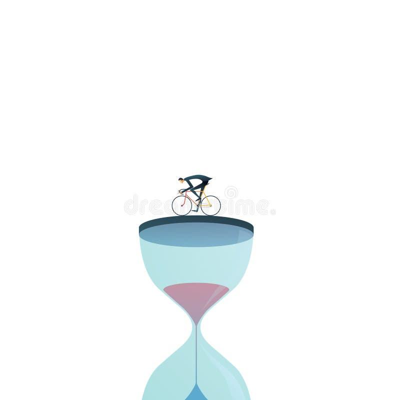 Het vectorconcept van de bedrijfsprojectuiterste termijn met zakenman het rennen tegen klok, zandloper Symbool van spanning, die  stock illustratie