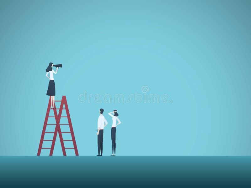Het vectorconcept van de bedrijfsvrouwenleider Onderneemster die aan team met megafoon spreken Symbool van leiding, beheer stock illustratie