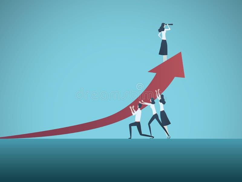 Het vectorconcept van de bedrijfsvrouwenleider Symbool van tijden op beweging, vrouw in zaken, emancipatie, succes, leiding royalty-vrije illustratie