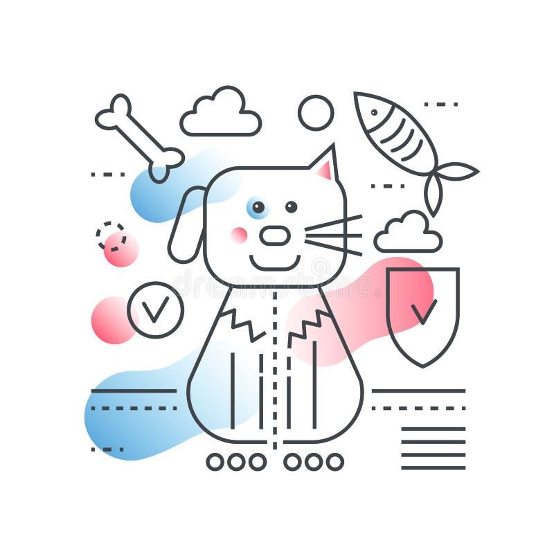 Het vectorconcept van de huisdierenvriend De binnenlandse vectorillustratie van de huisdierenopslag in in lijn met stijl van de g stock illustratie