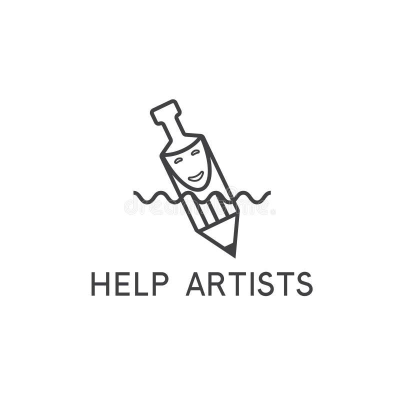 Het vectorconcept van de hulpkunstenaar met potlood, masker royalty-vrije illustratie