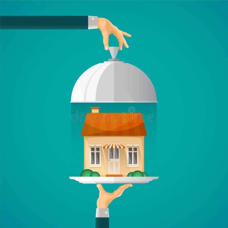 Het vectorconcept van de hypotheekaanbieding in vlakke stijl stock illustratie