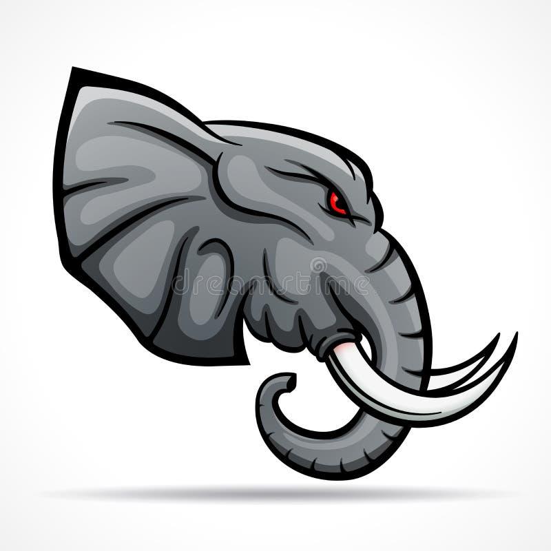 Het vectorconcept van de olifants hoofdmascotte royalty-vrije illustratie