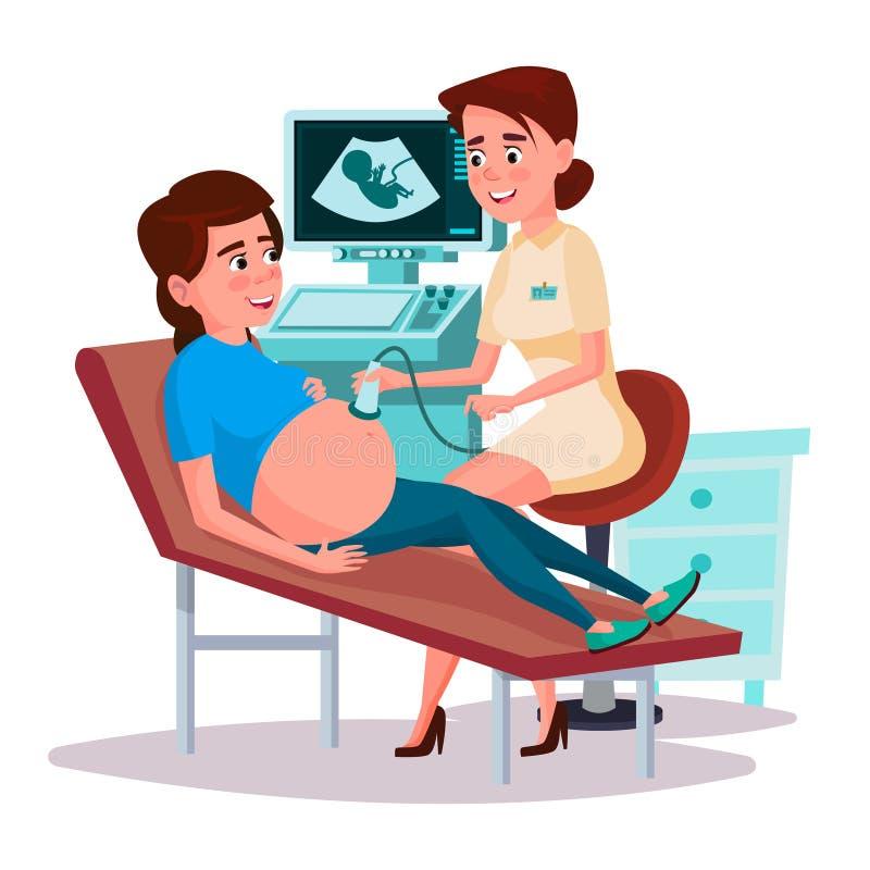 Het vectorconcept van het de zwangerschapsscherm van de beeldverhaalultrasone klank royalty-vrije illustratie