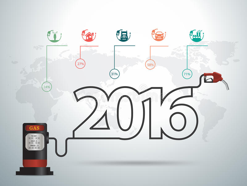 Het vectorconcept van 2016 nieuwe jaarideeën met het gas van de benzinepomppijp vector illustratie