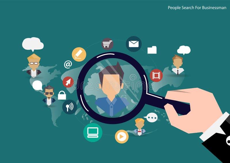 Het vectorconcept van onderzoekmensen personeelsbeheer, deskundigen onderzoek, hoofdjagersbaan met vergrootglas royalty-vrije illustratie