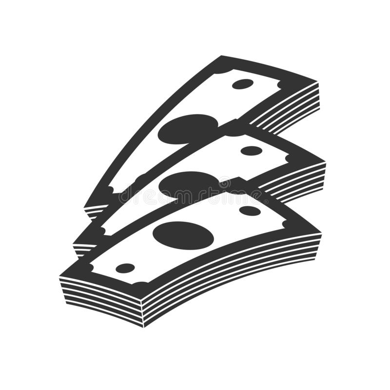 Het vectorcontante geld van het Geldpictogram Stapel bankbiljetten Symbool Op witte achtergrond vector illustratie