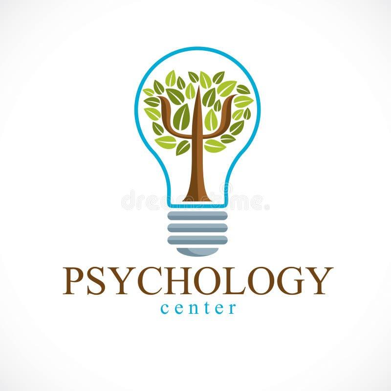 Het het vectordieembleem of pictogram van het psychologieconcept met Grieks Psi wordt gecreeerd sy vector illustratie